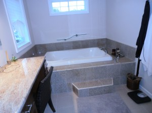 Jetted Bathtub in New Tiled Bathroom Long Island